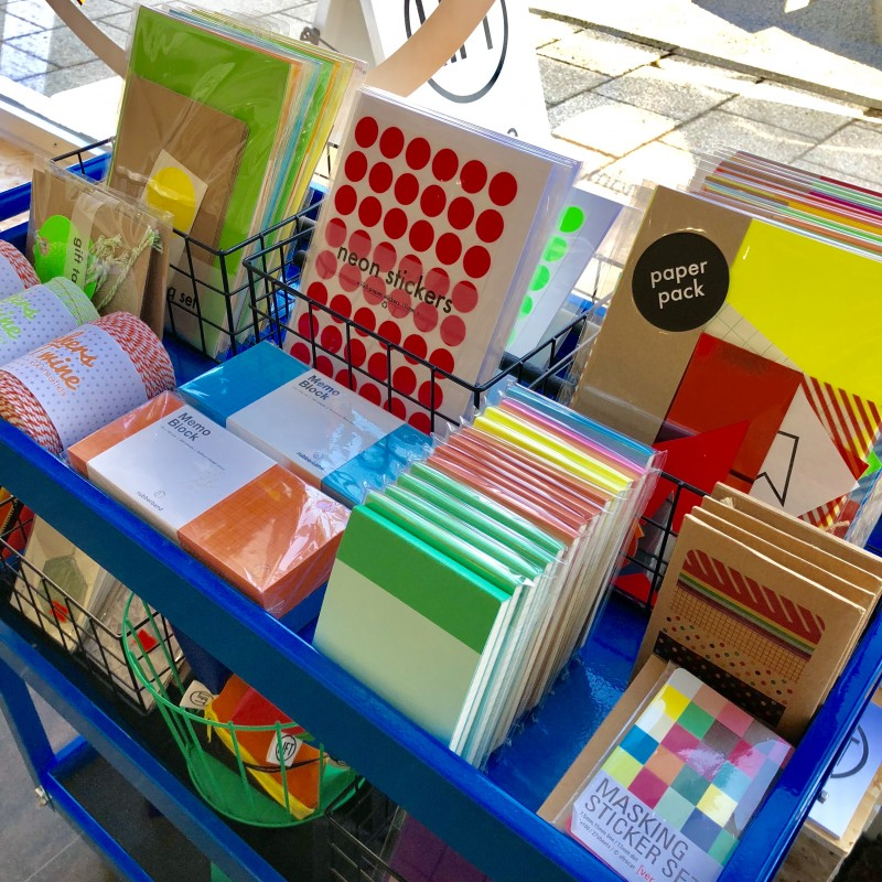 a close up of our stationery cart instore.